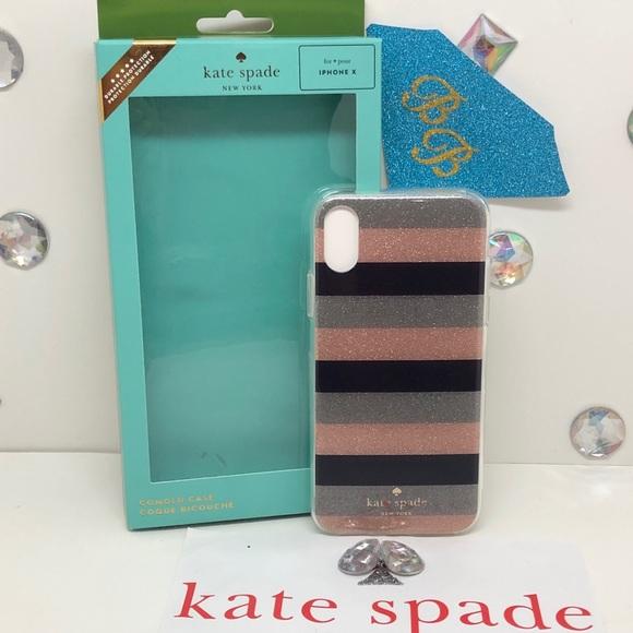 kate spade Accessories - KATE♠️SPADE GLITTER STRIPED IPHONE X PHONE CASE